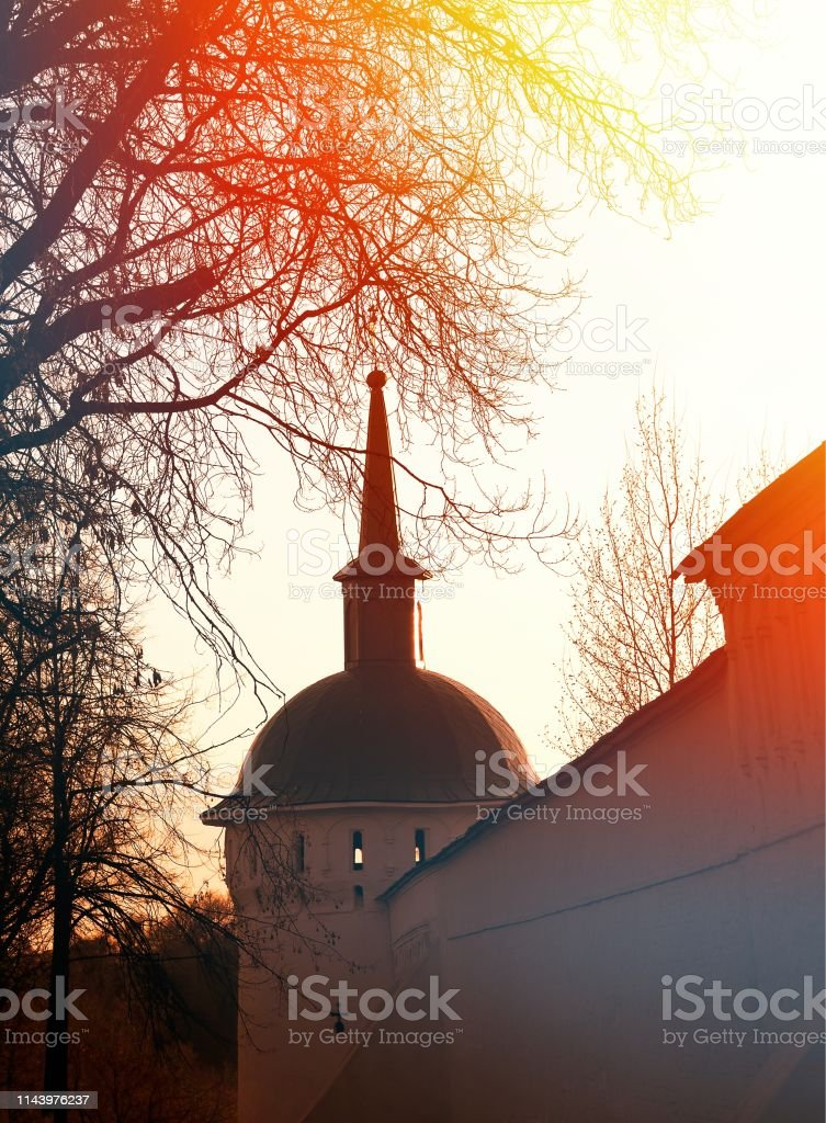 Alexandrov tower church during sunset architecture background