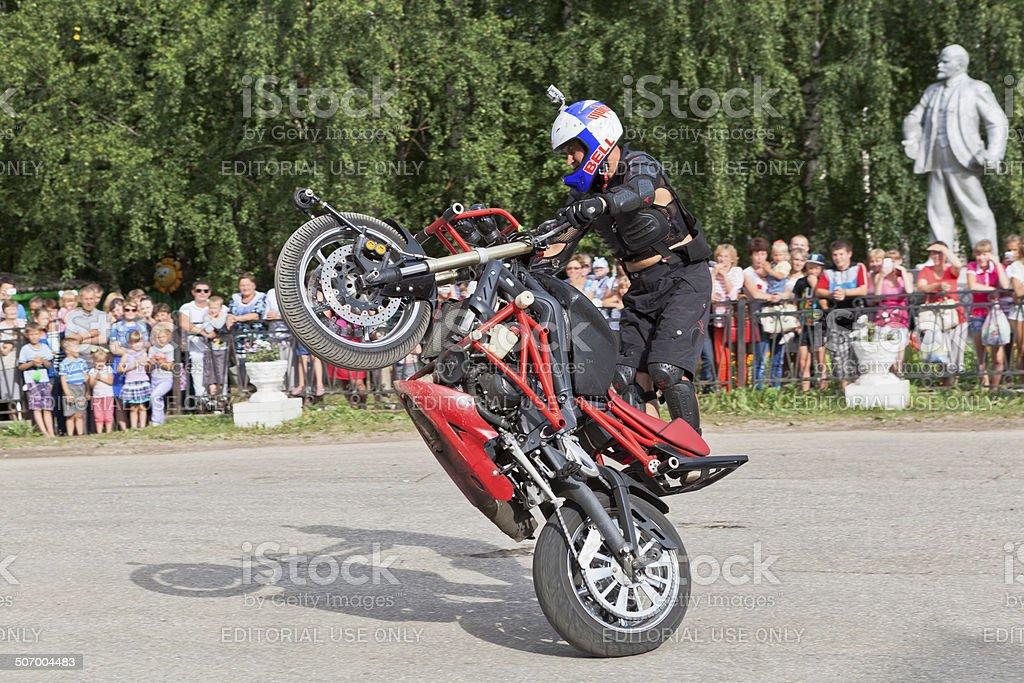 Alexei Kalinin Moto show in Verkhovazhye, Vologda region, Russia royalty-free stock photo