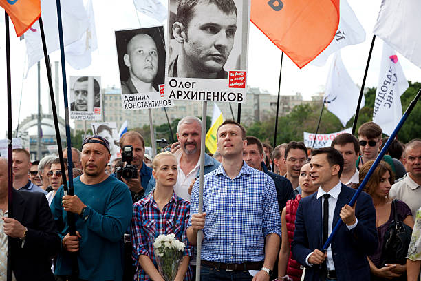 Alexey Navalny at march protest in Moscow stock photo