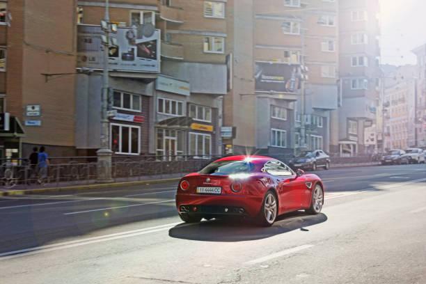 Alfa Romeo 8C Competizione. A car in the center of city stock photo