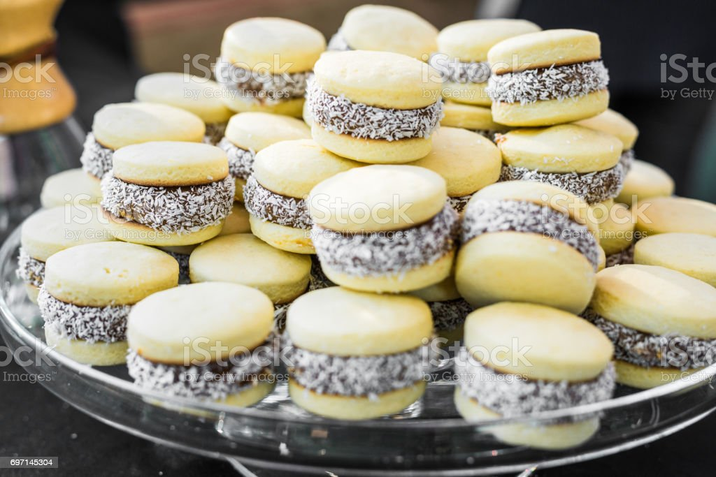 Alfajor, a traditional Argentine sweet dessert, at a street food market stock photo