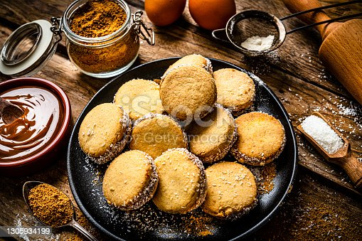 istock Alfajores. Traditional Argentinian cookies with dulce de leche 1305934199