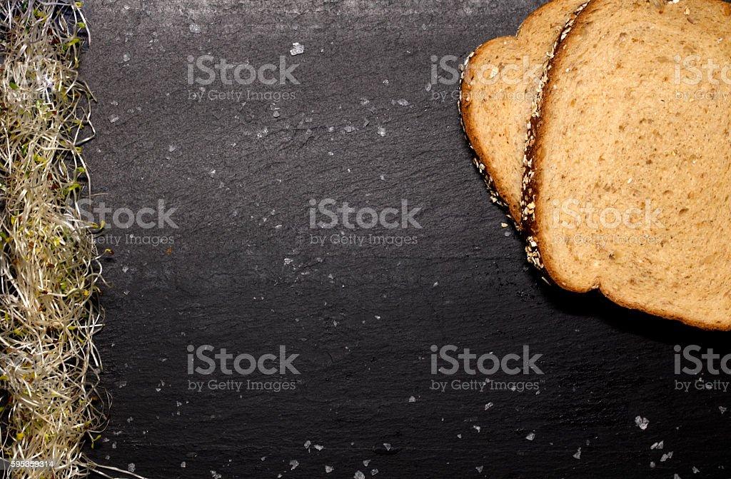 Alfalfa Spouts and Whole Wheat Bread stock photo