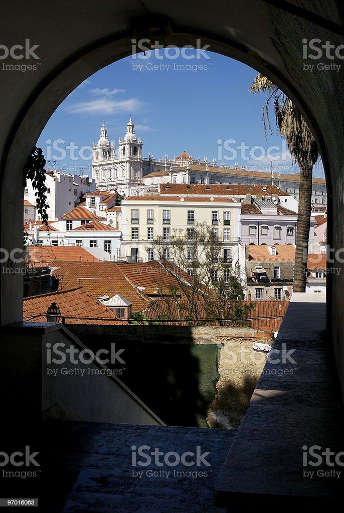 Alfama and São Vicente de Fora church stock photo