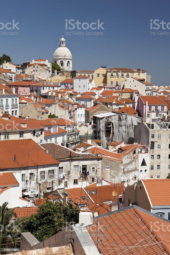 Alfama skyline with Santa Engracia church in Lisbon. royalty-free stock photo