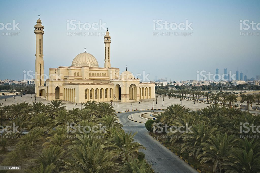 AlFateh Mosque Bahrain with blue sky stock photo