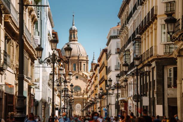 Alfonso I street in Zaragoza, Spain stock photo