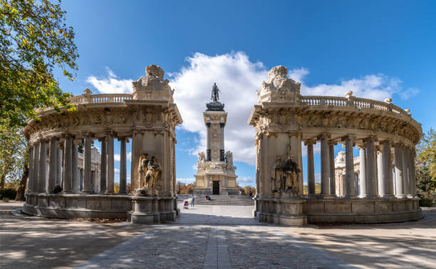 alfonso xii monument in The Buen Retiro Park in Madrid, Spain stock photo