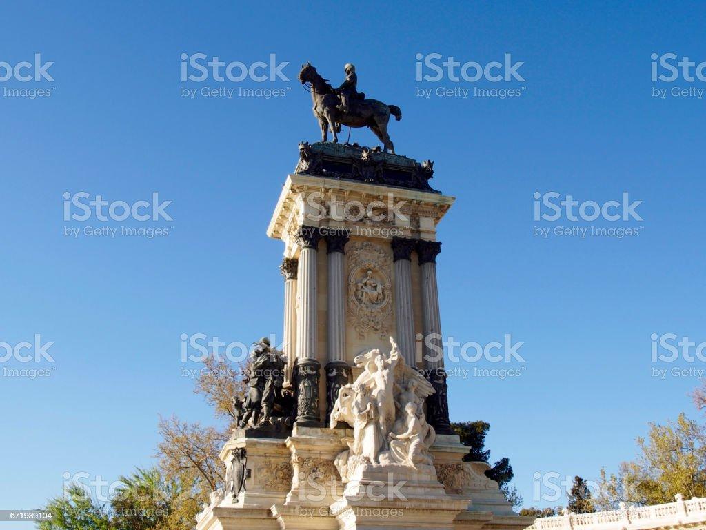 Alfonso XII statue in Retiro park stock photo