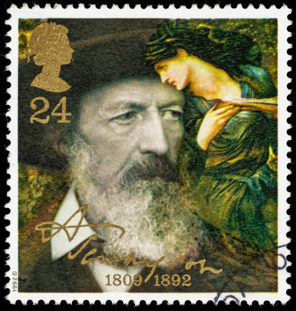 UK Alfred, Lord Tennyson in 1888 postage stamp stock photo