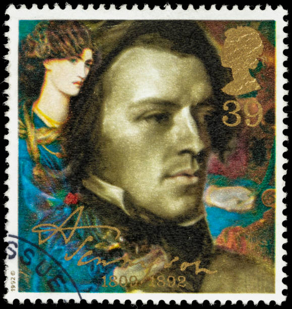 UK Alfred Tennyson in 1840 postage stamp stock photo