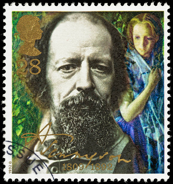 UK Alfred Tennyson in 1856 postage stamp stock photo
