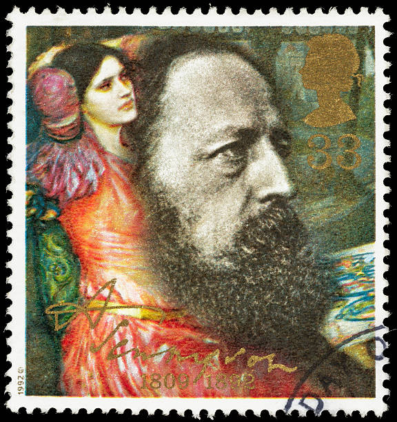 UK Alfred Tennyson in 1864 postage stamp stock photo