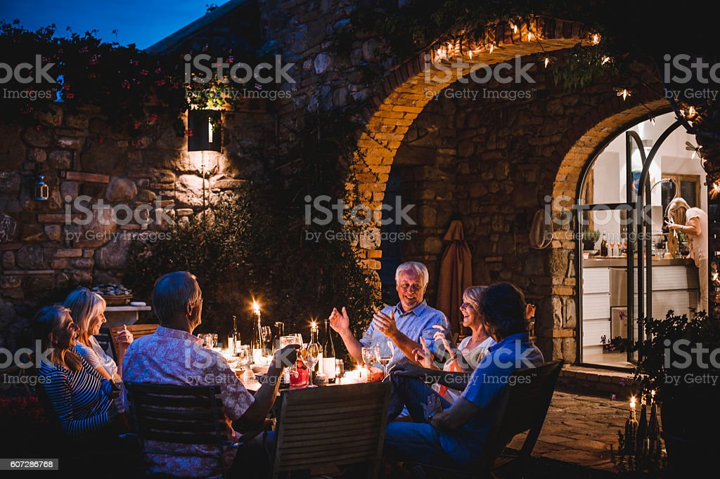 Alfresco Dining in the Evening stock photo