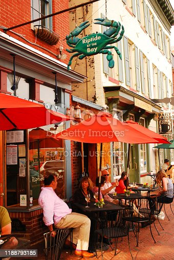 Baltimore, MD, USA May 10, 2013 Folks enjoy Alfresco dining in the Fells Point neighborhood of Baltimore on a warm evening