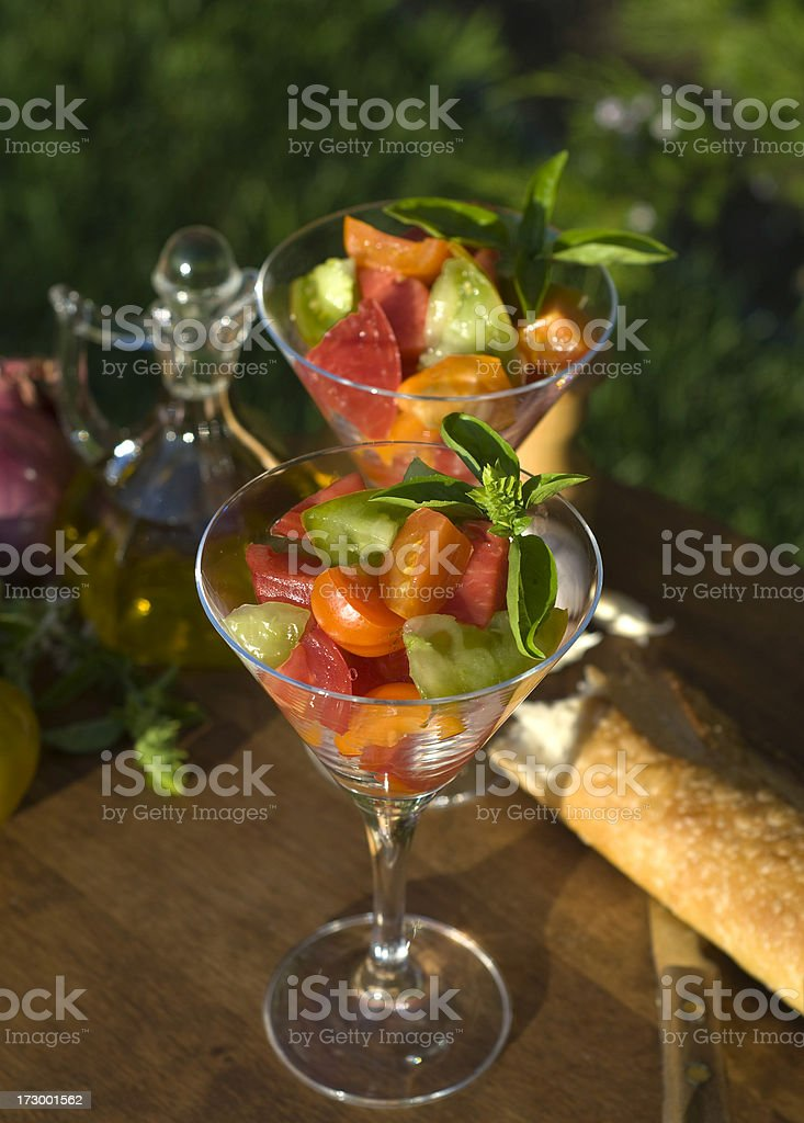 Alfresco Heirloom Tomato Salads royalty-free stock photo
