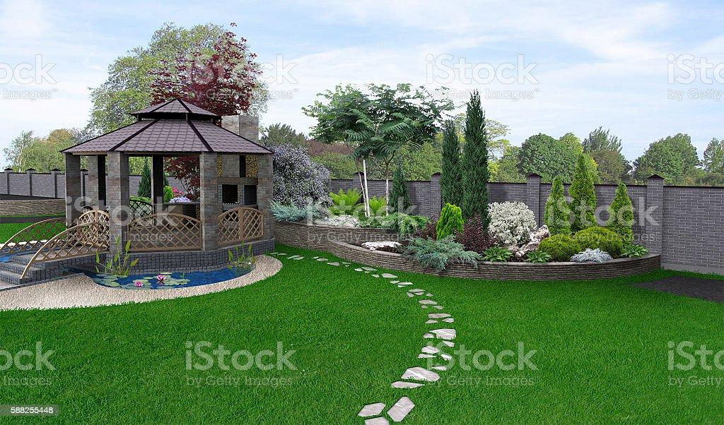 Alfresco living area, 3d render stock photo