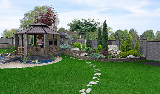 Alfresco living area, 3d render Well-thought planning place for get togethers. Nature scene of green design features. building feature stock pictures, royalty-free photos & images