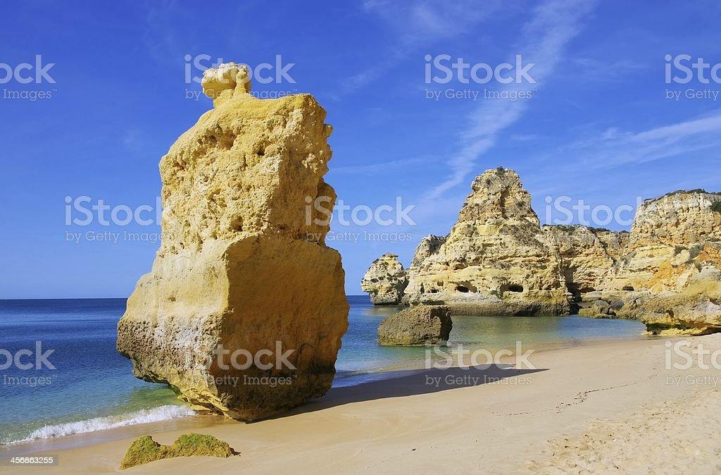 Algarve beach marinha stock photo
