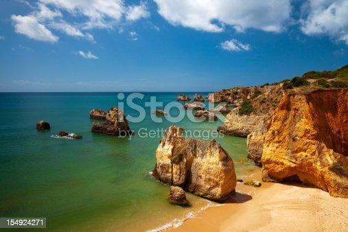 Famous beach Praia da Rocha in Portugal with huge rocks on the beach.