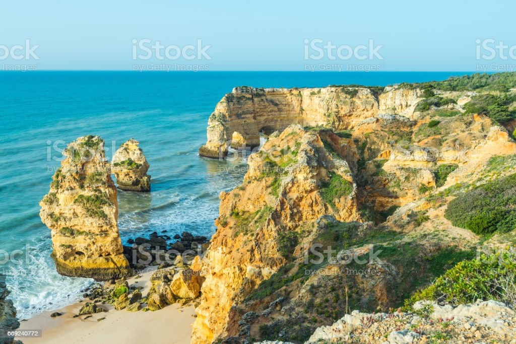 Algarve beautiful turquoise cost in Portugal stock photo