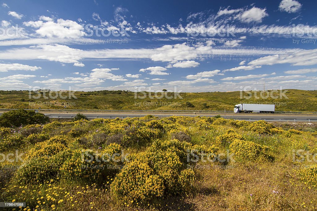 Algarve countryside hills with yellow bushes royalty-free stock photo