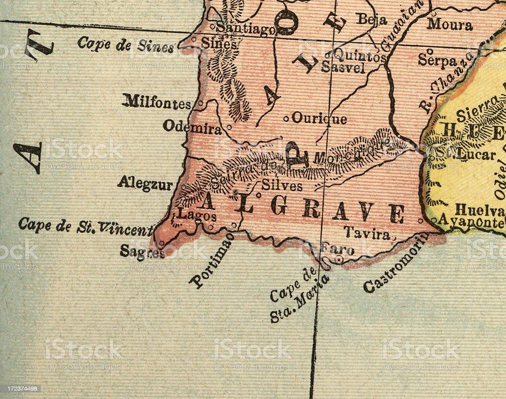 Algarve map stock photo