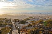 Algarve Portugal: Praia Monte Clerigo beach - dunes during sunset