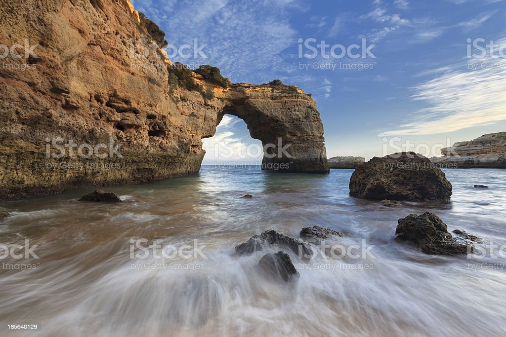 Algarve seascape in Albandeira Beach stock photo