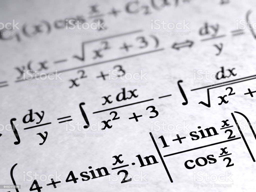 Algebra on the page. stock photo