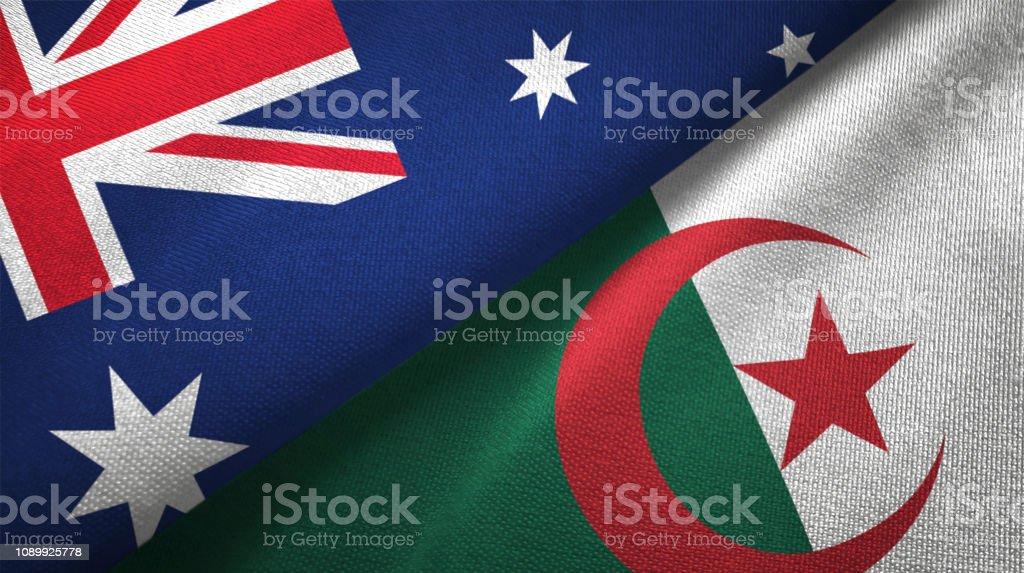 Argelia y España dos banderas juntos relaciones textil tela textura de la tela - foto de stock