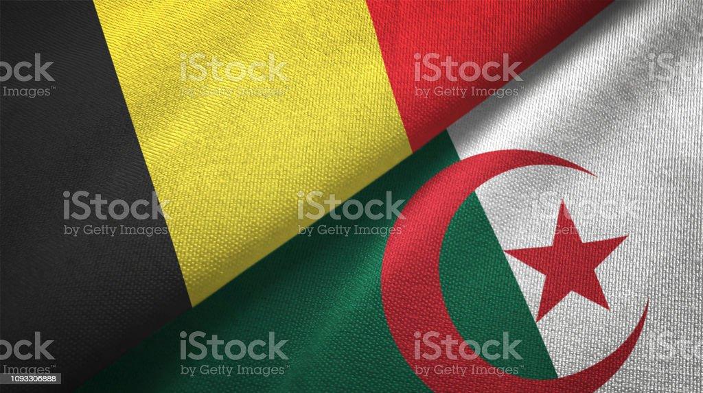 Argelia y Bélgica dos banderas juntas textil tela textura de la tela - foto de stock