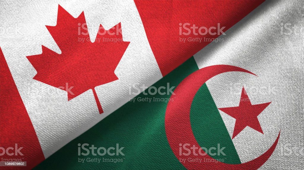Argelia y Canadá dos banderas juntos relaciones textil tela textura de la tela - foto de stock