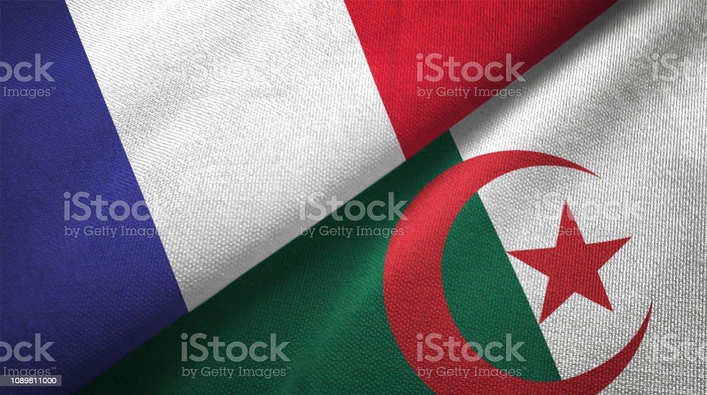 Argelia y Francia dos banderas juntos relaciones textil tela textura de la tela - foto de stock