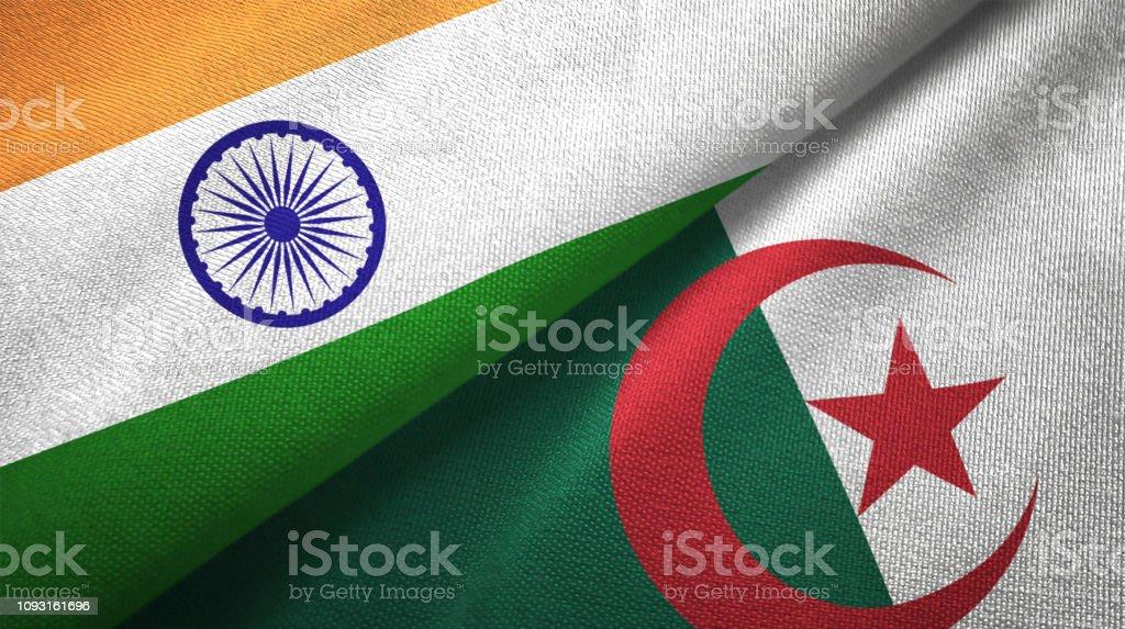 Argelia y la India dos banderas juntas textil tela textura de la tela - foto de stock