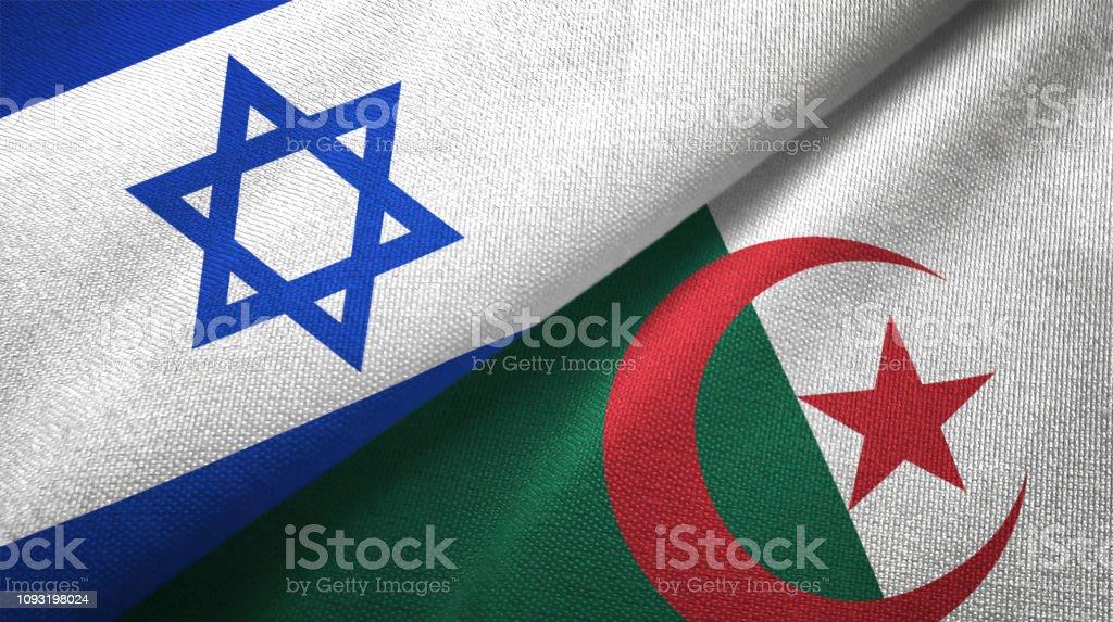 Argelia e Israel dos banderas juntas textil tela textura de la tela - foto de stock