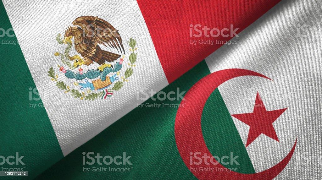Argelia y México dos banderas juntas textil tela textura de la tela - foto de stock