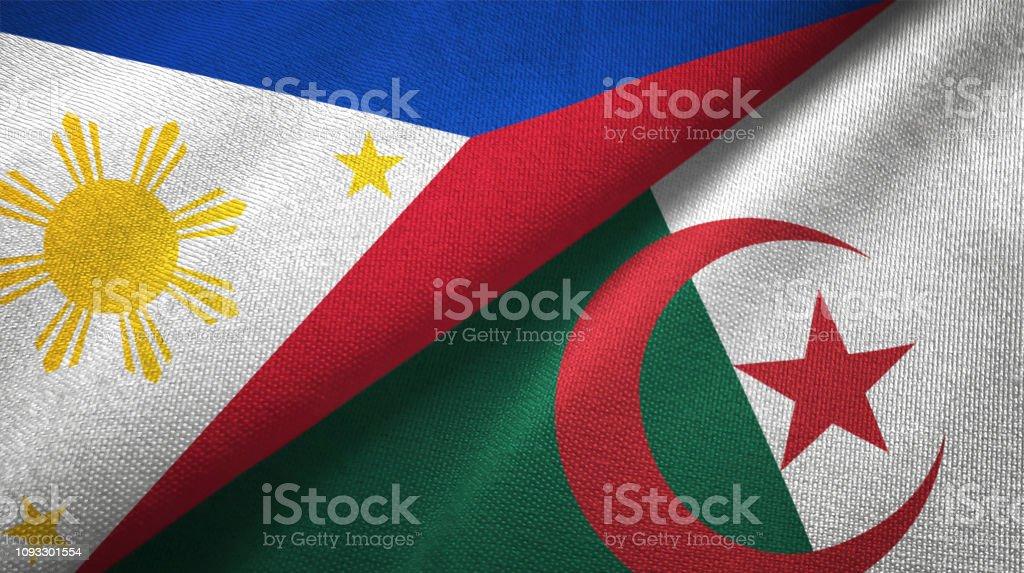 Argelia y Filipinas dos banderas juntas textil tela textura de la tela - foto de stock