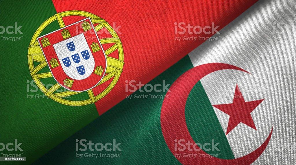 Argelia y Portugal dos banderas juntos relaciones textil tela textura de la tela - foto de stock