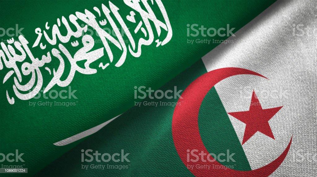 Argelia y Arabia Saudita dos banderas juntos relaciones textil tela textura de la tela - foto de stock