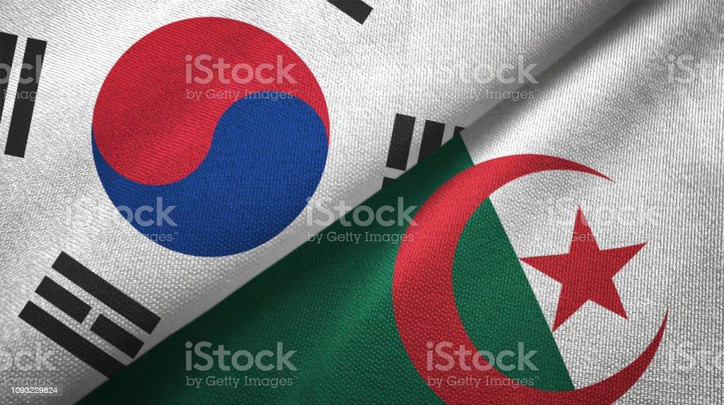 Argelia y Corea del sur dos banderas juntas textil tela textura de la tela - foto de stock
