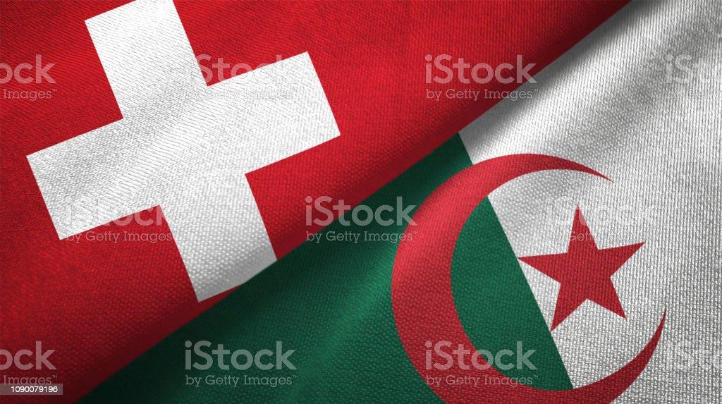 Argelia y Suiza dos banderas juntos relaciones textil tela textura de la tela - foto de stock