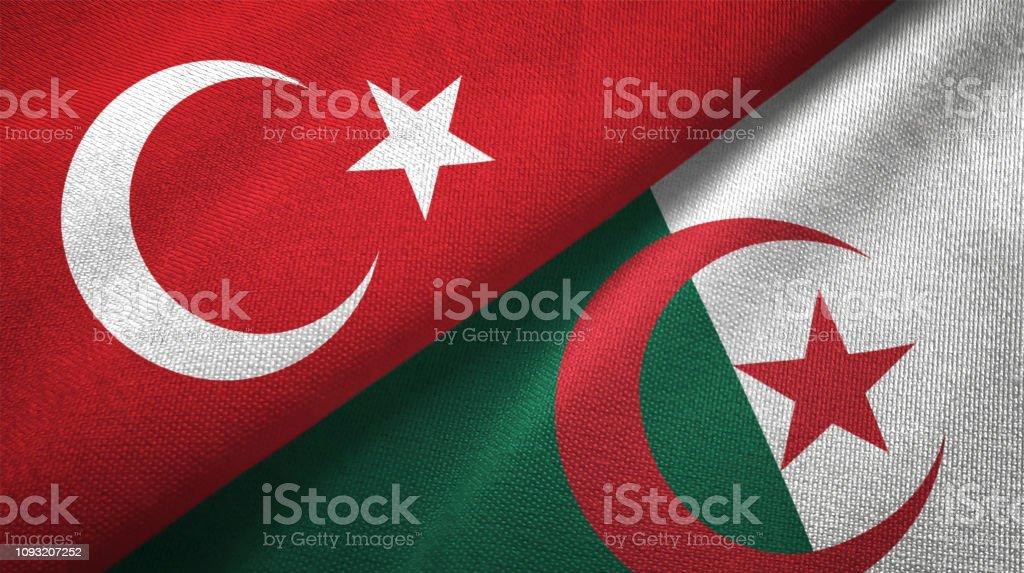 Argelia y Turquía dos banderas juntas textil tela textura de la tela - foto de stock