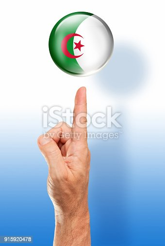 istock Algeria button flag pointing with human hand 915920478
