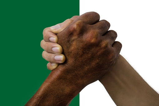 Algeria flag, intergration of a multicultural group of young people.