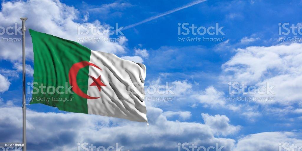 Drapeau de l'Algérie sur un fond de ciel bleu. illustration 3D - Photo
