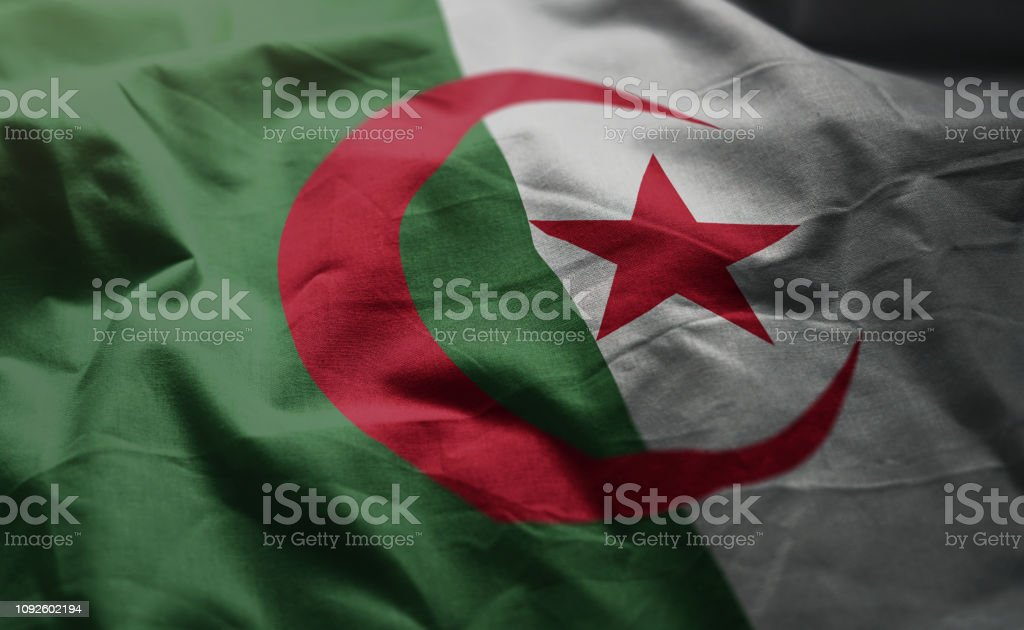 Argelia bandera revuelta cerca - foto de stock
