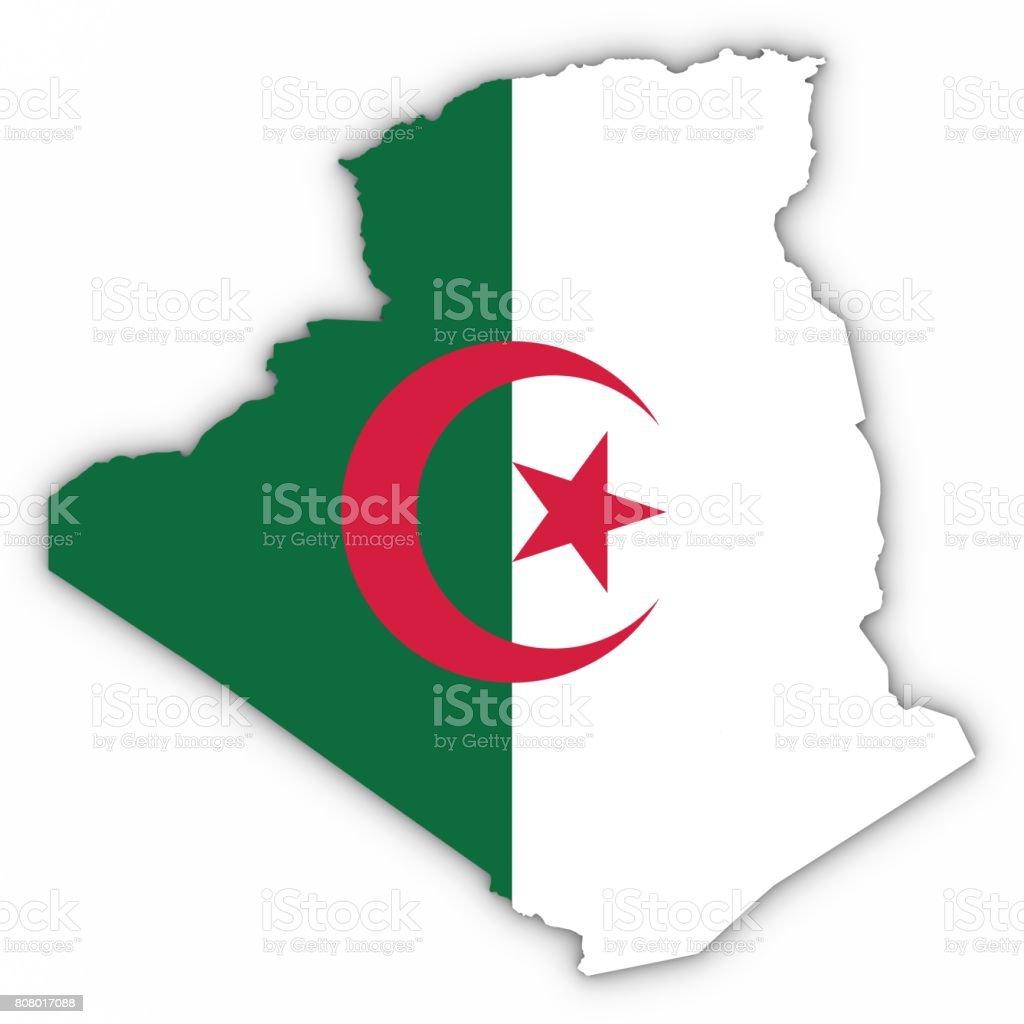 Contorno del mapa de Argelia con bandera argelina en blanco con Ilustración 3D de sombras - foto de stock