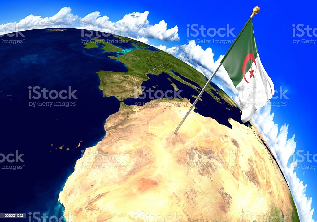 Algeria National Flag Marking The Country Location On World Map ...