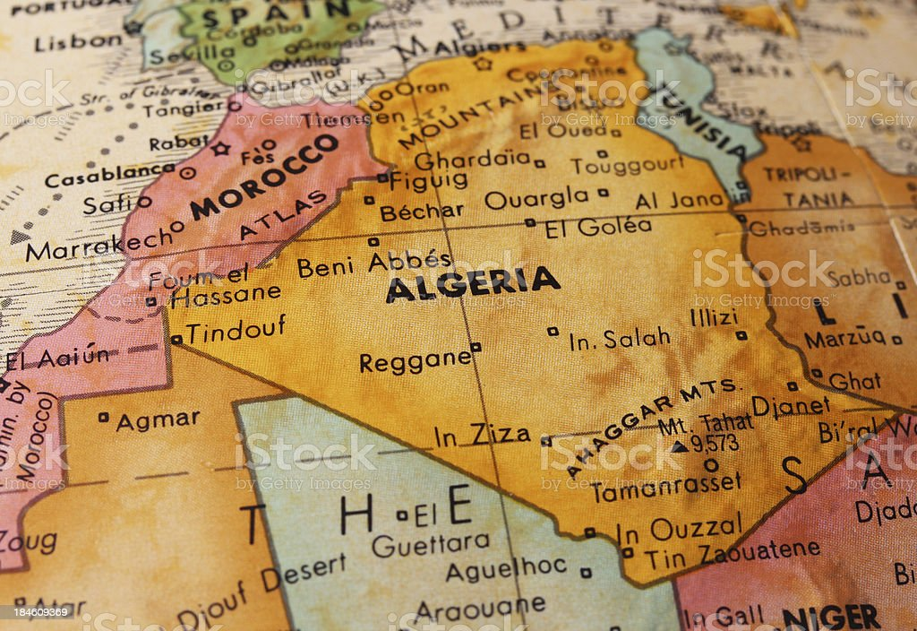 Algeria on the Map stock photo